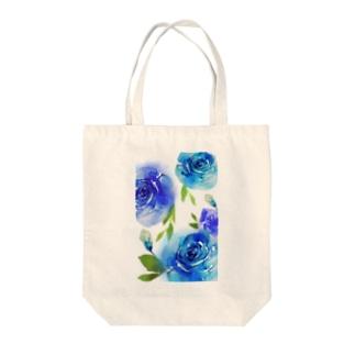 水彩風フラワー Tote bags