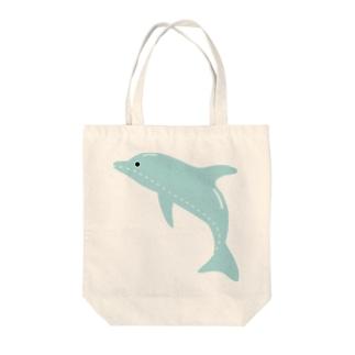 縫い目イルカ Tote bags