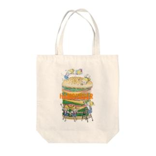 hamburger(オレンジ文字) Tote bags