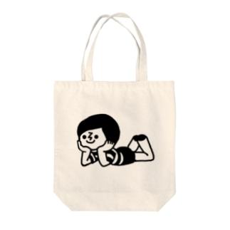 ボーダー坊や(寝そべり) Tote bags
