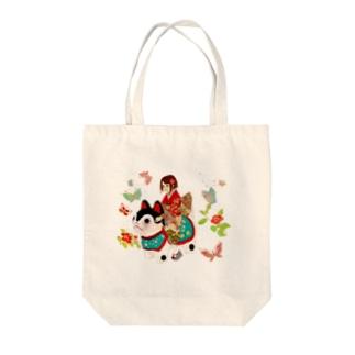 犬乗り女子 Tote bags