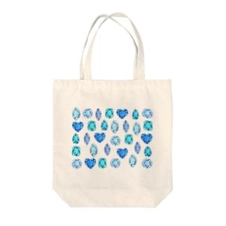 ぎっしりな青色と水色の宝石たち Tote bags