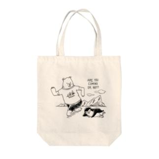 先に行こうとするシロクマ(薄色用) Tote bags