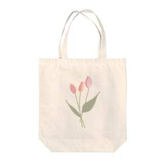 pink tulip Tote bags