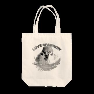 aliveONLINE SUZURI店の東京すずめ Tote bags