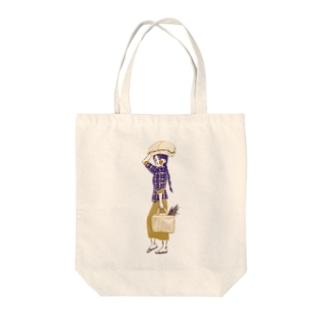 akaneyabushitaの【ミャンマーの人々】マーケットの女性 Tote bags