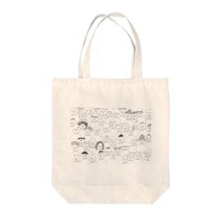 白いハイネックの集い Tote bags