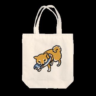真希ナルセ(マキナル)の木彫りの熊風柴犬(赤柴) Tote bags