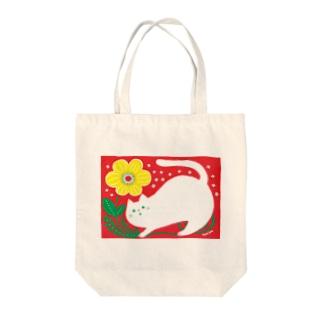 猫と黄色いお花 トートバッグ