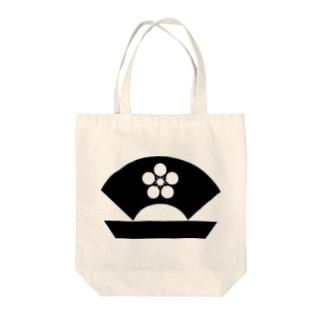 梅に地紙・黒(家紋) Tote bags