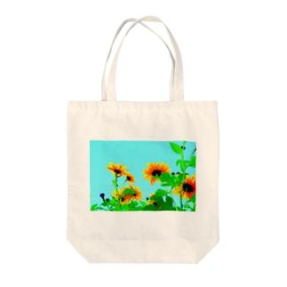 ヒマワリ Tote bags