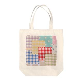 カラフルパッチワーク風♡(レッド) Tote bags
