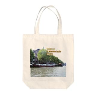 オランダ:アムステルダムのハウスボート netherlands: Houseboat in Amsterdam canal Tote bags
