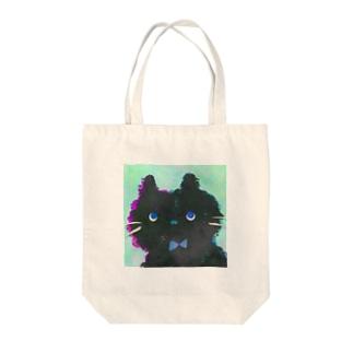 黒ネコくっぴーのトートバッグ Tote bags