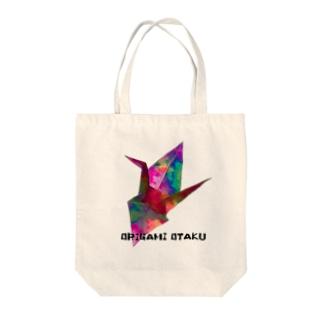 折り鶴×ORIGAMI  OTAKU 黒文字 Tote bags