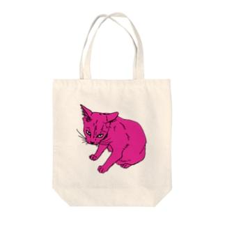 ピンクのねこさん Tote bags