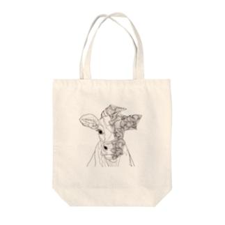 幾何学模様と牛 Tote bags