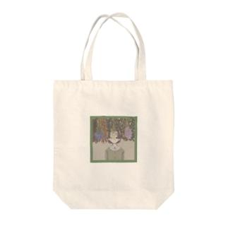 ドライフラワーガール Tote bags