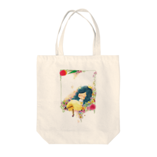 ちび子★キエの花籠 Tote bags