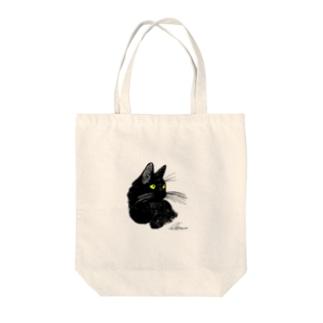 クロネコ(ヘーゼル) Tote bags