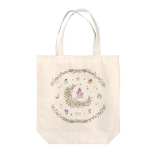 鉱物と植物柄 Tote bags