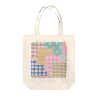 ミルキーパッチワーク風♡(ピンク) Tote bags