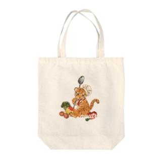 子トラ 白 Tote bags