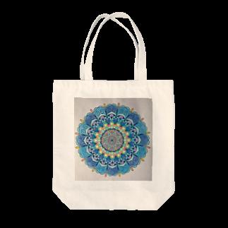 saiko-ruiのマンダラBLUE Tote bags