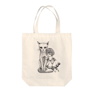ArtSpringsの猫と少女 Tote bags