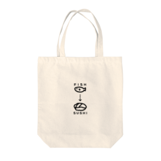 tsubakimayのFISH→SUSHI(黒) Tote bags