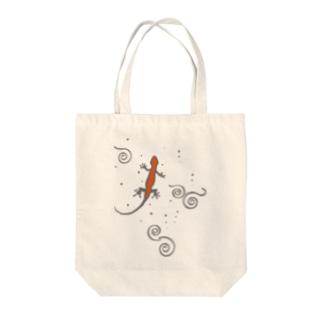 和柄・イモリ Tote bags