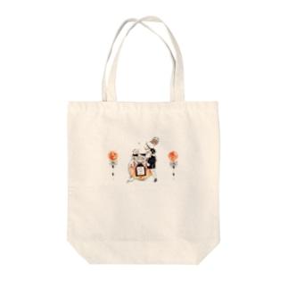 かわいい男の子とくまさんと蜂蜜キャンディーのイラストトートバッグ Tote bags