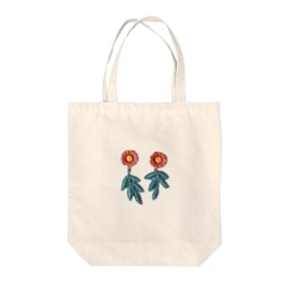 陶土ポピーと手染めリーフレース Tote bags
