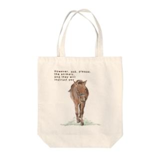 草原の馬 Tote bags