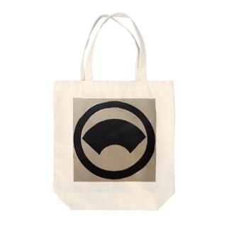 丸に地紙 Tote bags