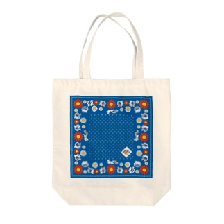 """little shop""福士悦子のシマリスと北欧風花柄 Tote bags"