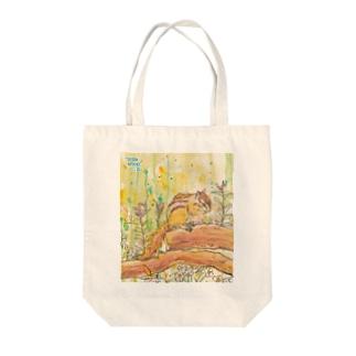 """little shop""福士悦子の水彩画 春のシマリス Tote bags"