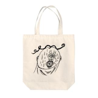 あわしまくんの顔シリーズ Tote bags