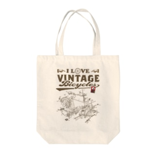 I LOVE VINTAGE BICYCLE-RODBRAKE Tote bags