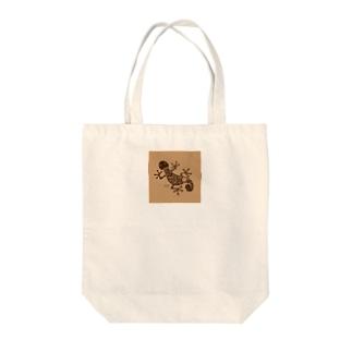 ヤモリ(暗茶) Tote bags