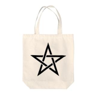 五芒星(黒) Tote bags