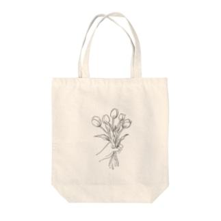 チューリップのブーケ(モノクロ) Tote bags