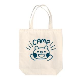キャンプクマ (ネイビー) Tote bags