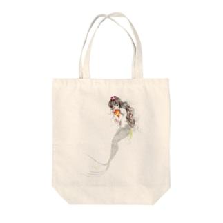 人魚線画 Tote bags