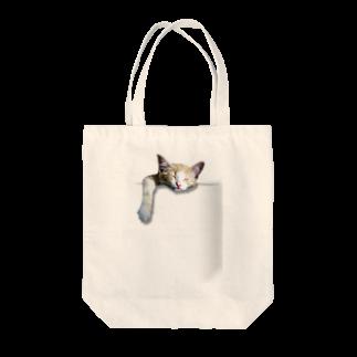 シズムFACTORYのポケットねこ Tote bags