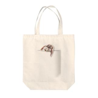 ポケットうさぎ Tote bags