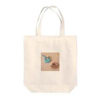 羊毛フェルトのふわふわインコとドーナツ Tote bags