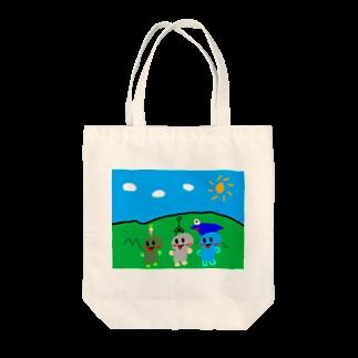 12321の【こんちゃーはん】電車大好きそうちゃんたちのトートバック(野原) Tote bags