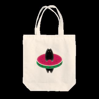 はまった黒猫の西瓜にはまった黒猫 Tote bags