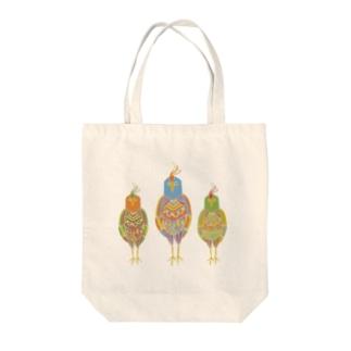 カラフルバード Tote bags